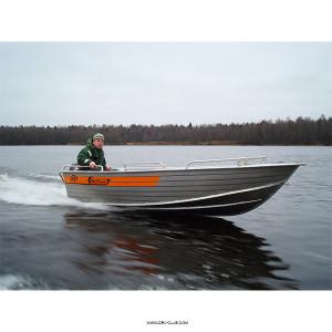 Алюминиевая моторная лодка Wellboat 42 румпельное управление